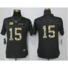 2017 NFL Women NEW Nike Cincinnati Bengals 15 Ross Anthracite Salute To Service Limited Jersey