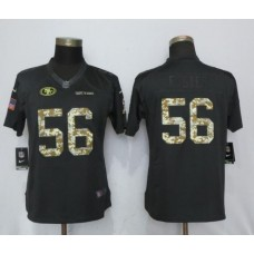 2017 NFL Women New Nike San Francisco 49ers 56 Foster Anthracite Salute To Service Limited Jersey