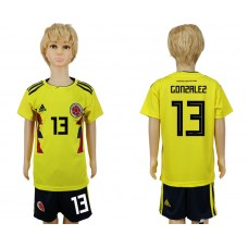 2018 World Cup Colombia home kids 13 yellow soccer jersey