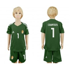 Youth 2018 World Cup Belgium army green goalkeeper 1 soccer jersey