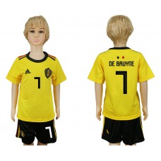Youth 2018 World Cup Belgium away 7 yellow soccer jersey