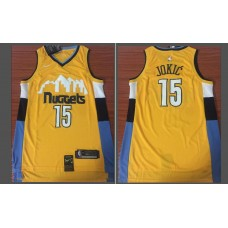 Men Denver Nuggets 15 Jokic Yellow Game Nike NBA Jerseys