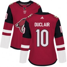 Adidas Arizona Coyotes 10 Anthony Duclair Maroon Home Authentic Women Stitched NHL Jersey