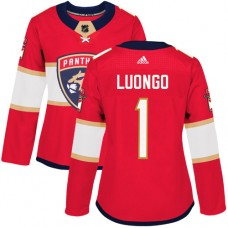 Adidas Florida Panthers 1 Roberto Luongo Red Home Authentic Women Stitched NHL Jersey