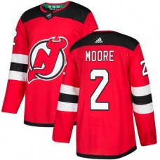 Adidas Men New Jersey Devils 2 John Moore Red Home Authentic Stitched NHL Jersey
