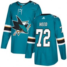 Adidas Men San Jose Sharks 72 Tim Heed Teal Home Authentic Stitched NHL Jersey