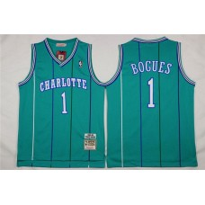Men Charlotte Hornets 1 Bogues Green Throwback Stitched NBA Jersey