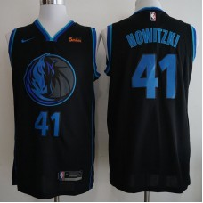 Men Dallas Mavericks 41 Nowitzki Black City Edition Game Nike NBA Jerseys