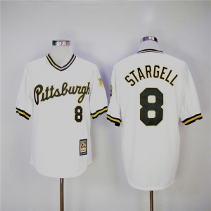 Men Pittsburgh Pirates 8 Stargell White Throwback MLB Jerseys