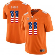 Men Tennessee Volunteers 11 Dobbs Orange Flag Customized NCAA Jerseys