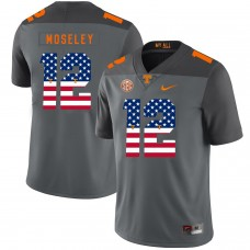Men Tennessee Volunteers 12 Moseley Grey Flag Customized NCAA Jerseys