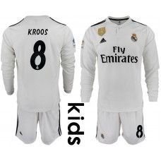 2018_2019 Club Real Madrid home long sleeve Youth 8 soccer jerseys