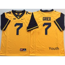 Youth West Virginia Mountaineers 7 Grier Yellow Nike NCAA Jerseys