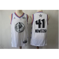 Men Dallas Mavericks 41 Nowitzki White 2019 All Star NBA Jerseys