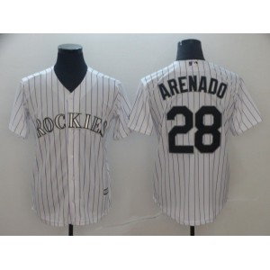 Men Colorado Rockies 28 Arenado White Game MLB Jersey