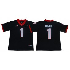 Men Georgia Bulldogs 1 Michel Black Limited Stitched NCAA Jersey