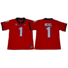 Men Georgia Bulldogs 1 Michel Red Limited Stitched NCAA Jersey