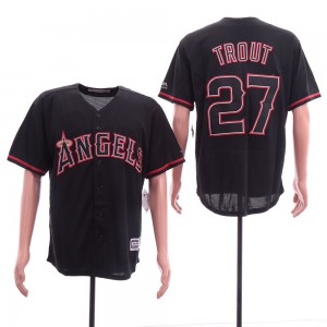 Men Los Angeles Angels 27 Trout Black Game MLB Jerseys