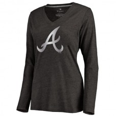 2016 Atlanta Braves Women's Platinum Collection Long Sleeve V-Neck Tri-Blend T-Shirt  Black
