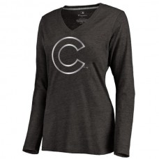 2016 Chicago Cubs Women's Platinum Collection Long Sleeve V-Neck Tri-Blend T-Shirt Black
