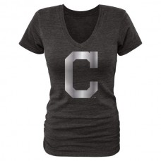 2016 Cleveland Indians Fanatics Apparel Women's Platinum Collection V-Neck Tri-Blend T-Shirt Black