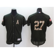 2016 MLB Los Angeles Angels 27 Trout Green Salute to Service Stitched Baseball Jersey