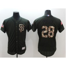 2016 MLB San Francisco Giants 28 Buster Posey Green Salute to Service Stitched Baseball Jersey