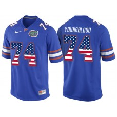 2016 US Flag Fashion Florida Gators Jack Youngblood 74 College Football Jersey  Royal Blue