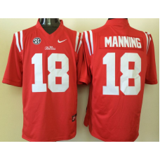 2016 NCAA Ole Miss Rebels 18 Manning Red Jerseys