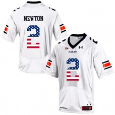 2016 US Flag Fashion Men Under Armour Cam Newton 2 Auburn Tigers College Football Jersey  White