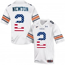 2016 US Flag Fashion Men Under Armour Cam Newton 2 Auburn Tigers College Football Throwback Jersey  White
