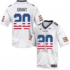 2016 US Flag Fashion Men Under Armour Corey Grant 20 Auburn Tigers College Football Jersey   White