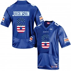 2016 US Flag Fashion Men Under Armour Jeremy Johnson 6 Auburn Tigers College Football Jersey  Navy Blue