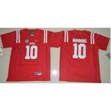 2016 Youth NCAA Ole Miss Rebels 10 Eli Manning Red College Alumni Football Jersey