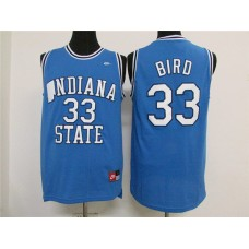 NCAA Indiana State Sycamores 33 Larry Bird Blue Jerseys
