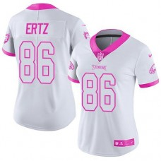 2016 Nike Philadelphia Eagles 86 Zach Ertz White Pink Women Stitched NFL Limited Rush Fashion Jersey