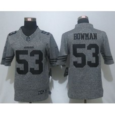 2016 Nike San Francisco 49ers 53 Bowman Gray Men's Stitched Gridiron Gray Limited Jersey