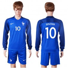 2016 European Cup France home long sleeve 10 Benzema Blue Soccer Jersey