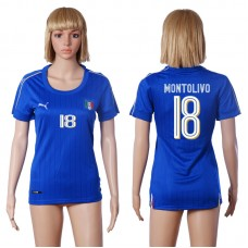 2016 European Cup Italy home 18 MONTOLIVO Blue Women soccer jerseys