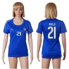 2016 European Cup Italy home 21 PIRLO Blue Women soccer jerseys