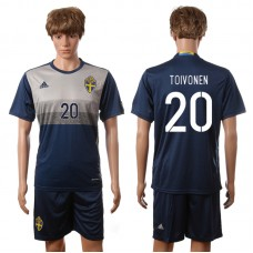 European Cup 2016 Sweden away 20 Toivonen blue soccer jerseys
